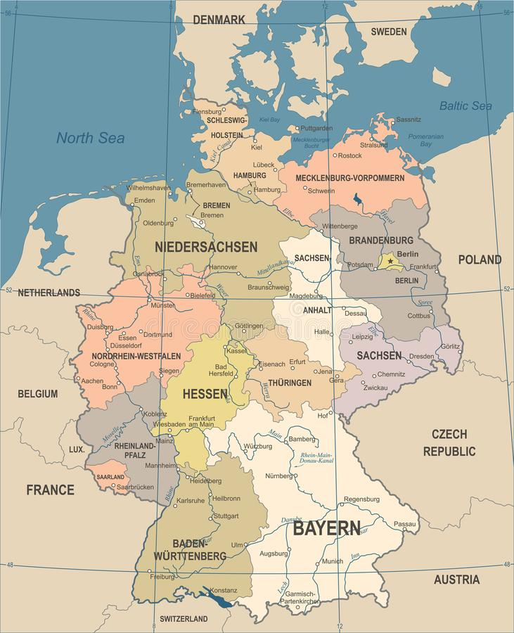 Germany Map Vintage Vector Illustration Stock Illustration