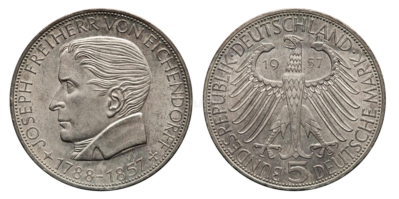 Germany 5 mark silver coin Eichendorff 1957. Obverse Eichendorff, reverse eagle royalty free stock image