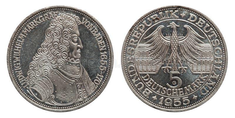 Germany 5 mark silver coin Margrave of Baden 1955. Front Margrave, back eagle stock images