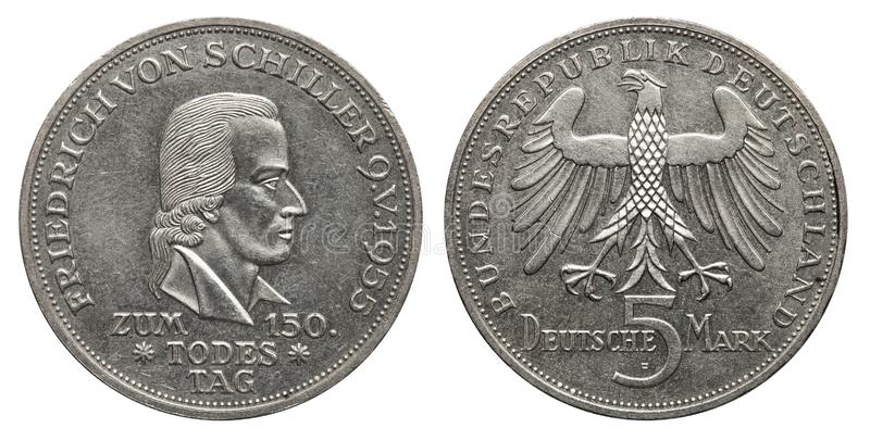 Germany 5 mark silver coin Schiller 1955. Obverse Friedrich Schiller, reverse eagle royalty free stock images