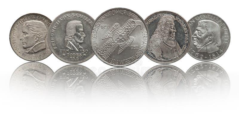 Germany 5 mark silver commemorative coins. Museum, Schiller, Margrave of Baden, Eichendorff and Fichte stock photos