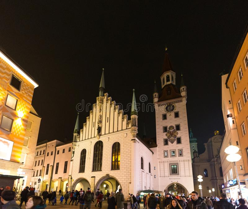 Germany, Munich December 27, 2017:View of town tower and church at Marienplatz at night Munich royalty free stock photos