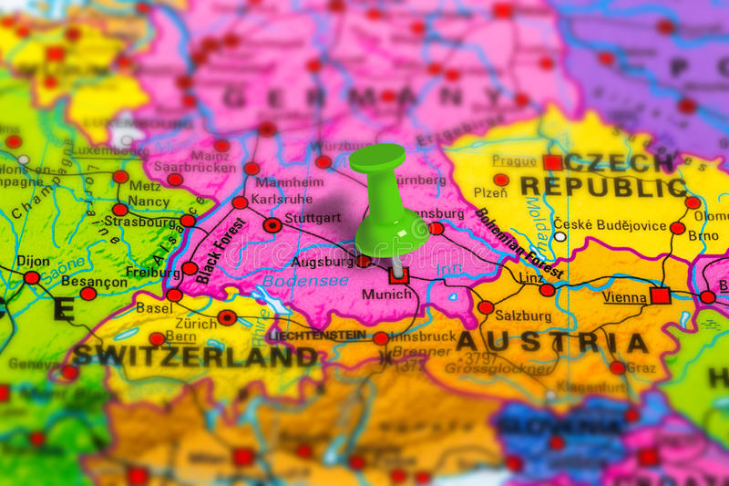 Germany Munich map. Munich in Germany pinned on colorful political map of Europe. Geopolitical school atlas. Tilt shift effect stock photo