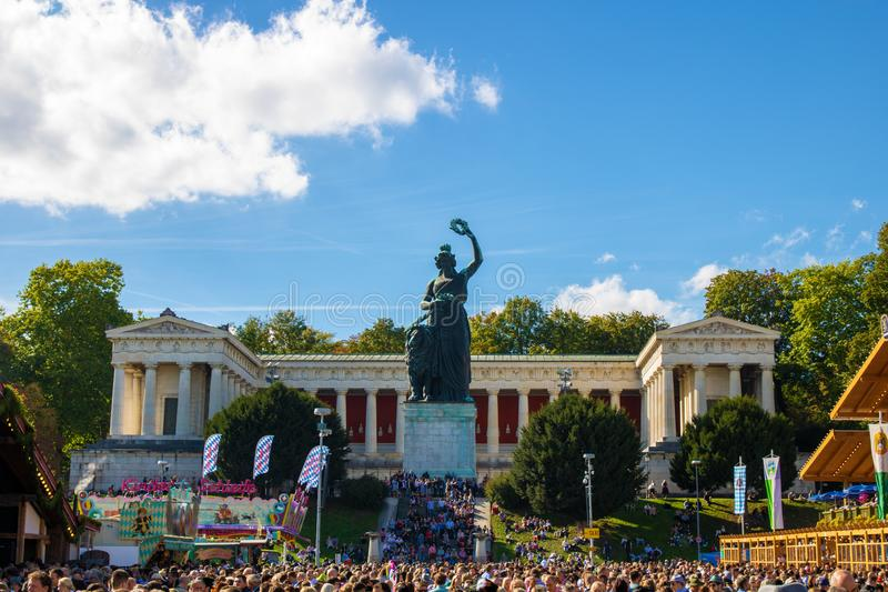 Statue Bavaria at the biggest folk festival of the world - the octoberfest in munich royalty free stock photography