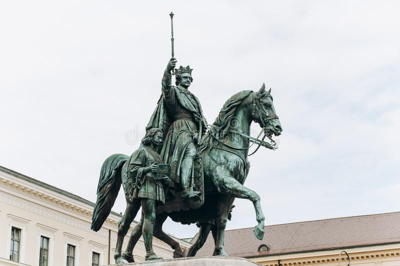 Germany, Munich - September 01, 2013. A monument of Ludwig the 1st of Bavaria, in the Leopoldstrasse. royalty free stock photos