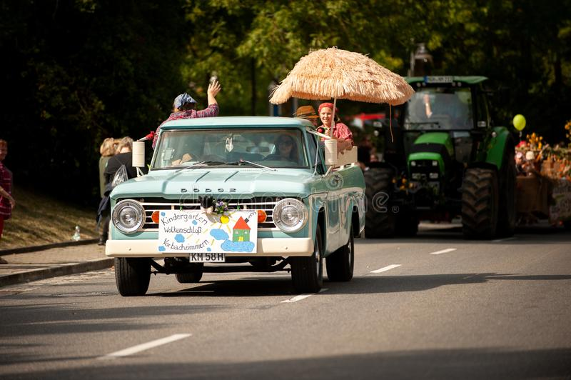 Germany, Niederstetten, Baden Wurttemberg. September 2019. Traditional Parade as a part of autumnal Harvest Fest, in German: stock photos