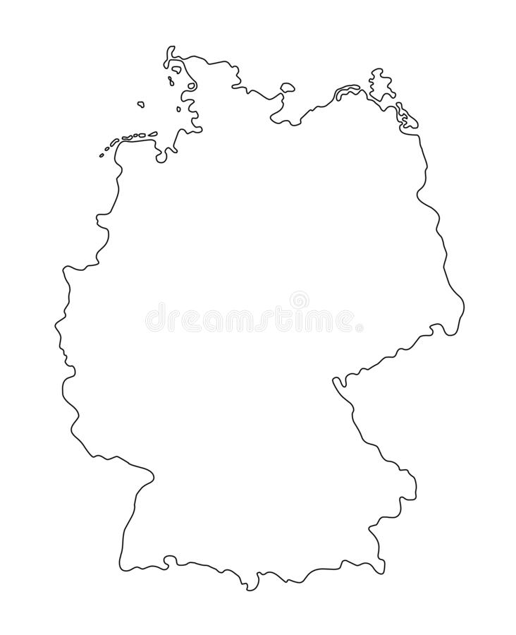 Germany outline map vector illustration. Isolated on white background royalty free illustration