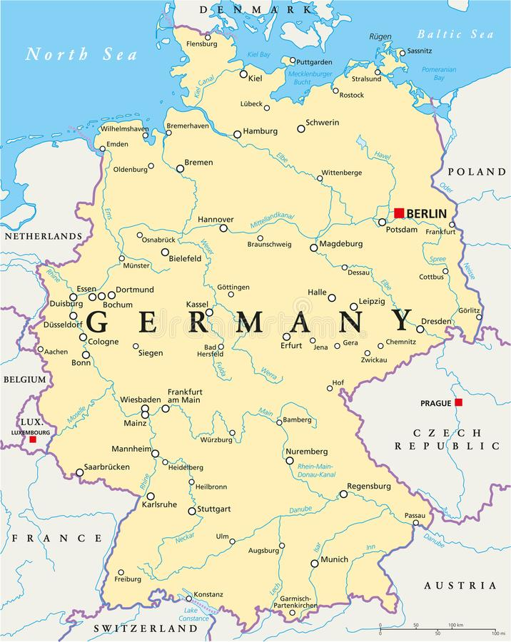 germany political map with capital berlin national borders most important cities rivers and lakes english labeling and scaling illustration