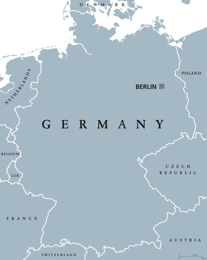 download germany political map gray colored stock vector illustration of europe political 81673343