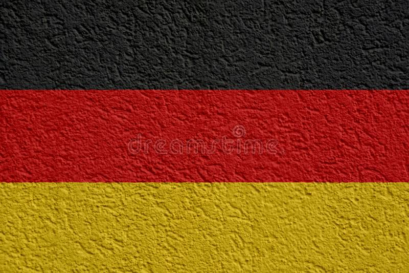 Germany Politics Or Business Concept: German Flag Wall With Plaster, Texture royalty free stock images