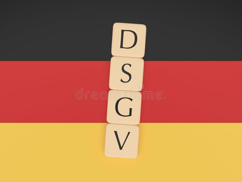 Germany Politics News Concept: Letter Tiles DSGV On German Flag, 3d illustration. Germany Politics News Concept: Letter Tiles DSGV, Meaning General Data royalty free illustration