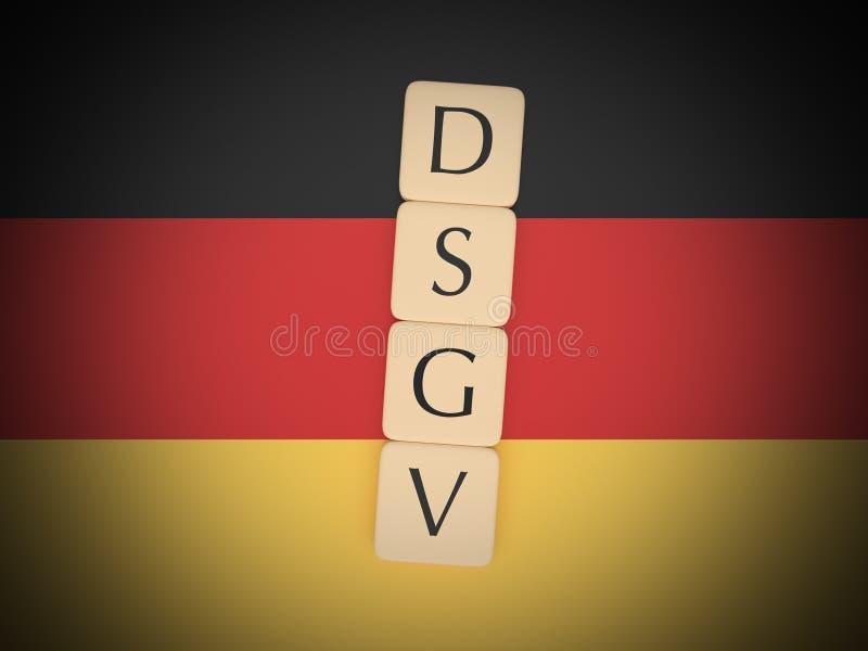Germany Politics News Concept: Letter Tiles DSGV On German Flag, 3d illustration. Germany Politics News Concept: Letter Tiles DSGV, Meaning General Data stock illustration
