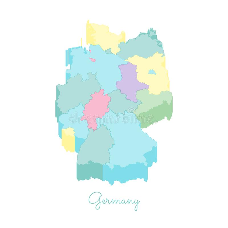 Germany Region Map Colorful Isometric Top View Stock Vector