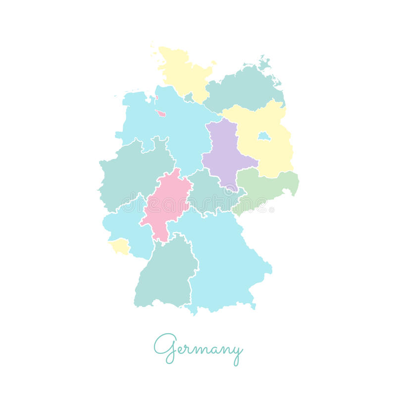 download germany region map colorful with white outline stock vector illustration of explore