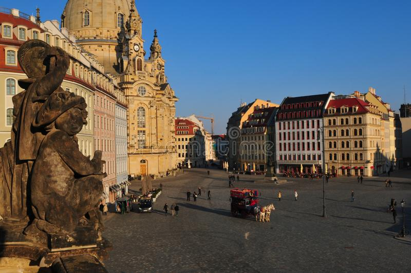 Germany: Restored Woman Church and Barock-Houses at Neumarkt in  Dresden city. Germany: The restored Woman Church is surrounded b beuatiful Barock Houses at royalty free stock photography