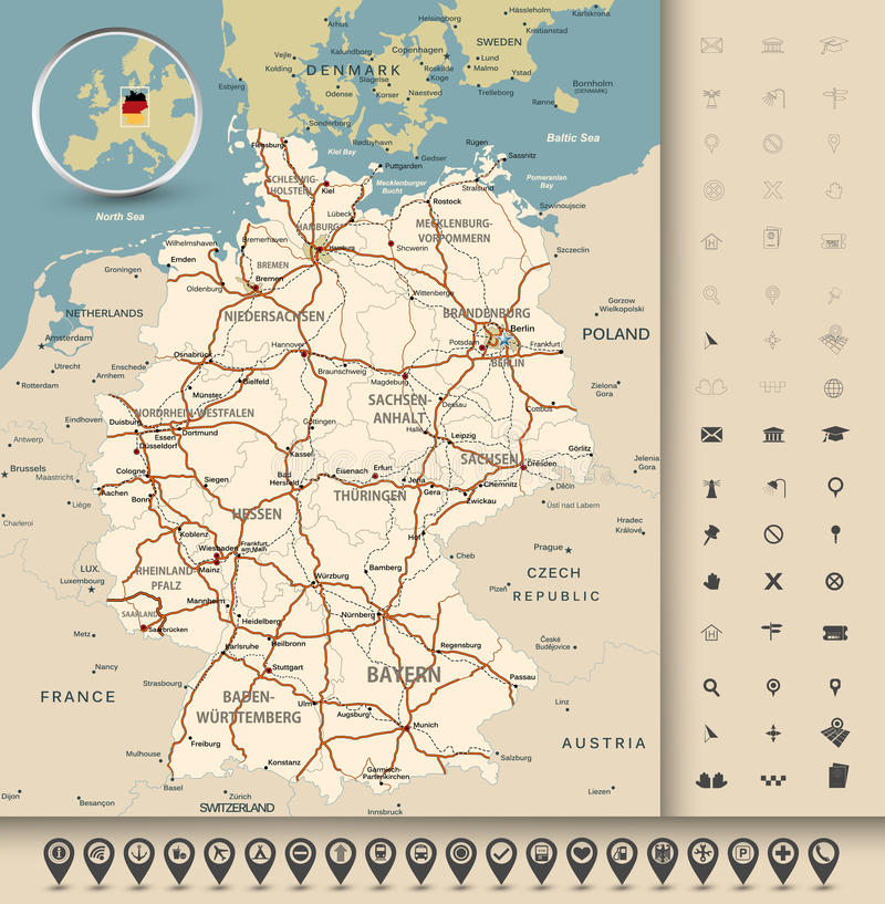 Germany Road Map Stock Vector Image Of Munich Frankfurt - Germany map detailed