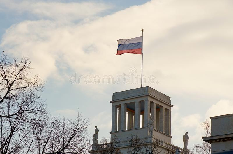 Germany. Russian flag on the building of the Russian Embassy on Unter den Linden Street in Berlin. February 16, 2018. Germany. Berlin. Russian flag on the stock photo