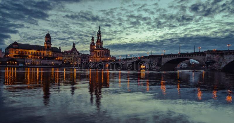 germany saxony Fiume Elbe Centro di vecchia città immagini stock libere da diritti