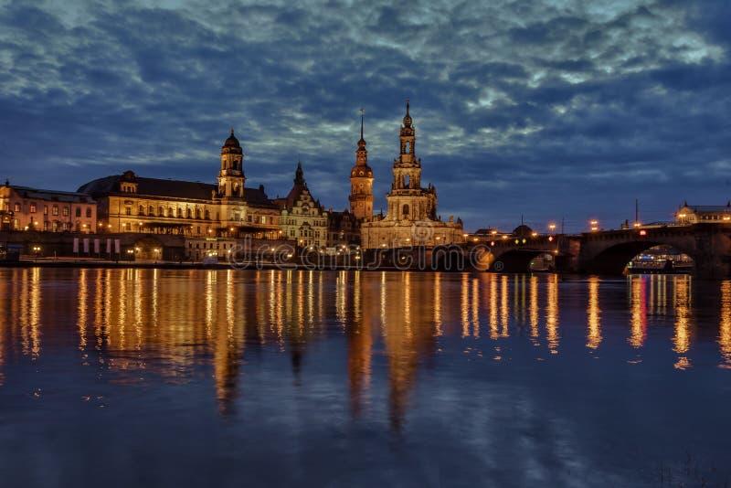 germany saxony Fiume Elbe Centro di vecchia città fotografie stock libere da diritti