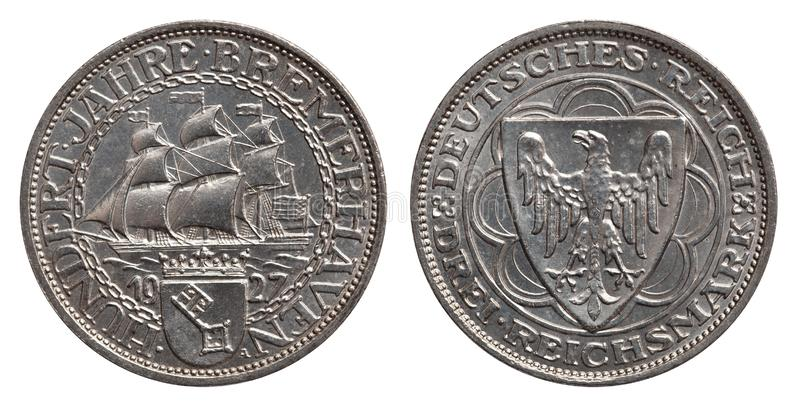Germany silver coin 3 mark Weimar republic 1927. Front side sailing ship, reverse eagle royalty free stock image