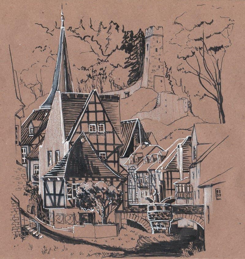 Germany. Sketch on craft paper. European old houses. German village. Sketch on craft paper royalty free illustration