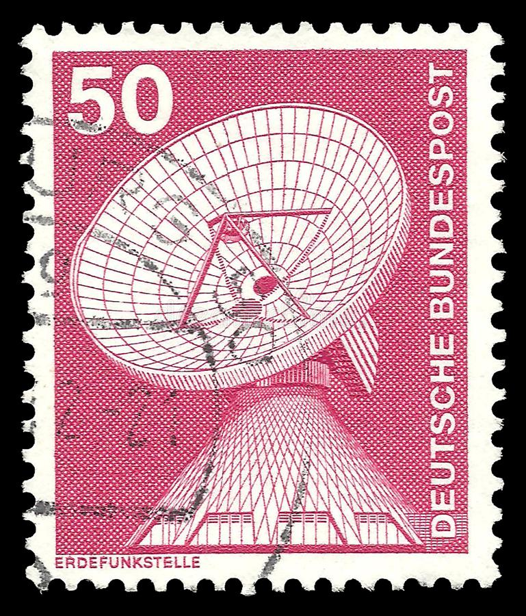 Raisting earth station. Germany - stamp 1975: Color edition on Industry and Technology, shows Raisting earth station royalty free stock images