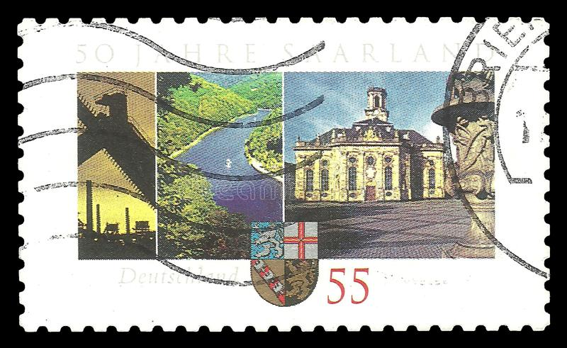 Federal Republic of Saarland. Germany - stamp 2007: Color edition on Special cases, shows 50th Anniversary of Federal Republic of Saarland stock images