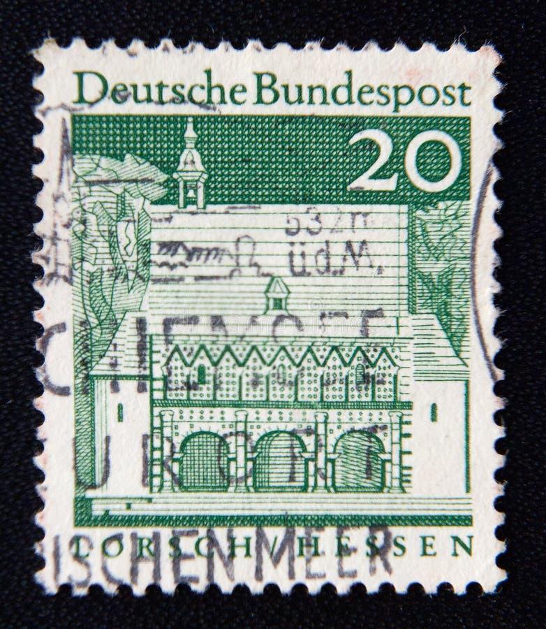 GERMANY stamp shows Carolingian gatehall, Lorsch, circa 1966 stock image