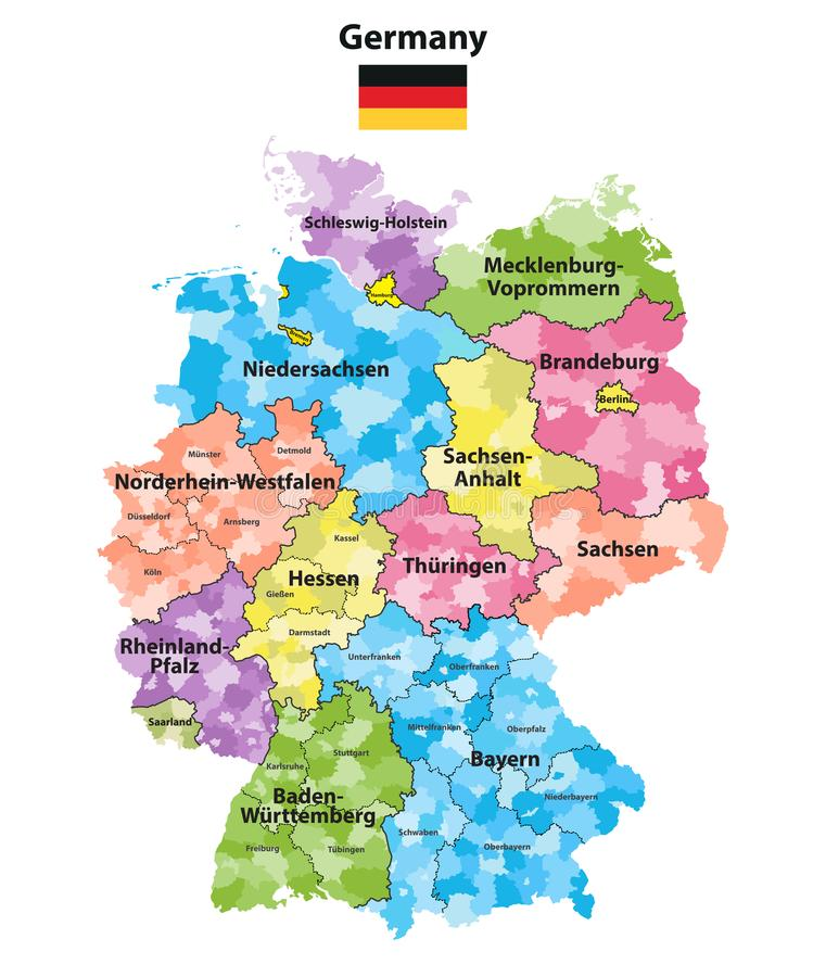 download germany states and districts colored vector map stock vector illustration of mecklenburg arnsberg