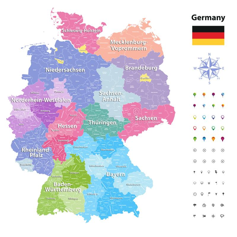 download germany vector map colored by states and administrative districts with subdivisions stock vector