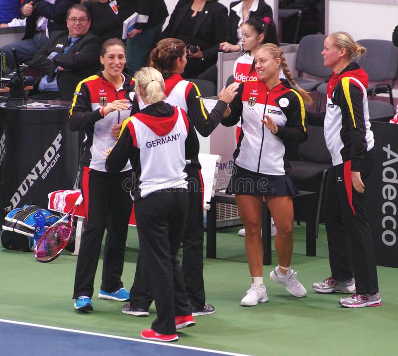 Germany team on Fed Cup in Bratislava stock photography