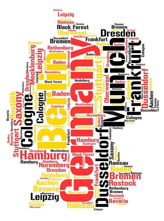 Germany top travel destinations word cloud. Germany map silhouette word cloud with most popular travel destinations royalty free illustration
