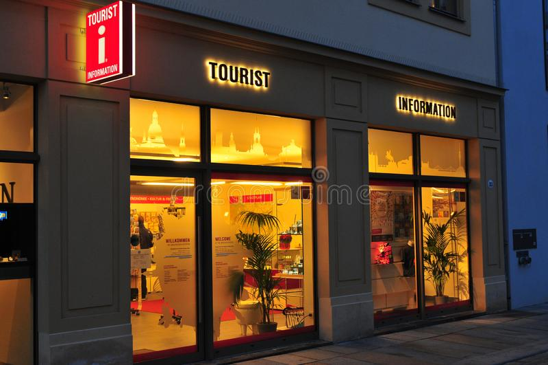 Germany: The tourist Info Dresden illuminated by night stock photo
