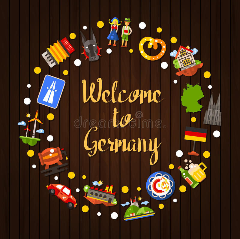 Germany travel circle postcard with famous German symbols vector illustration