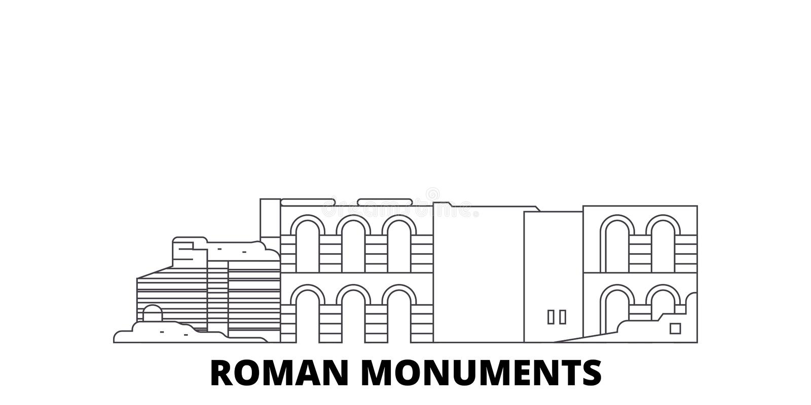 Germany, Trier, Roman Monuments, Cathedral Of St. Peter And Church Of Our Lady line travel skyline set. Germany, Trier vector illustration