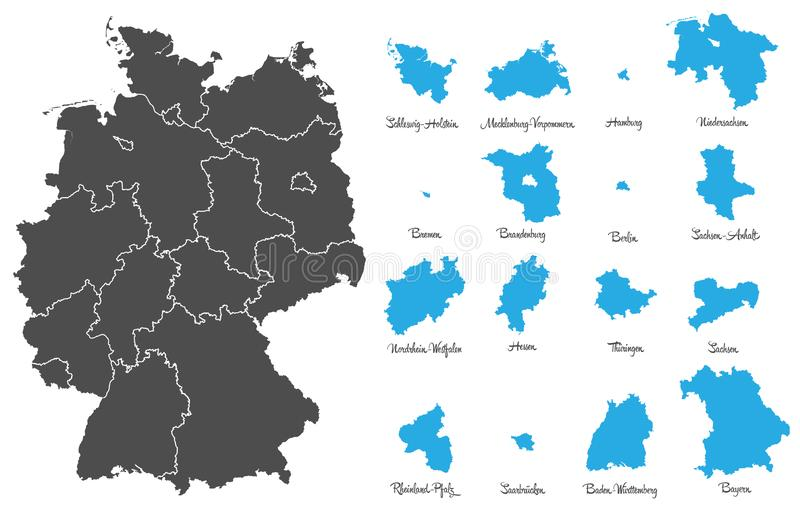 Germany map with federal states vector set stock illustration