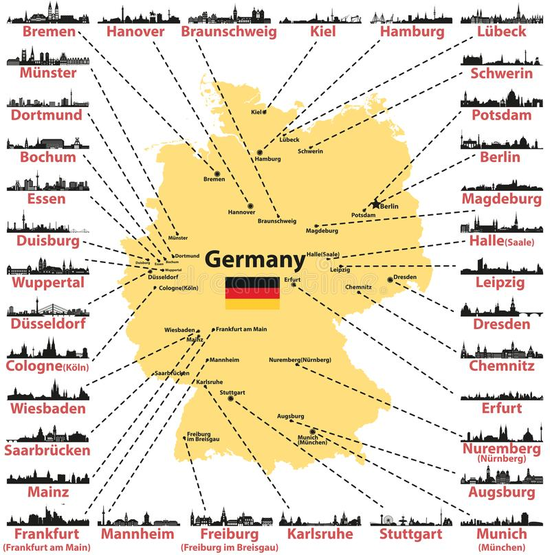 download germany vector map with states capitals and largest citites skylines silhouettes on white background stock