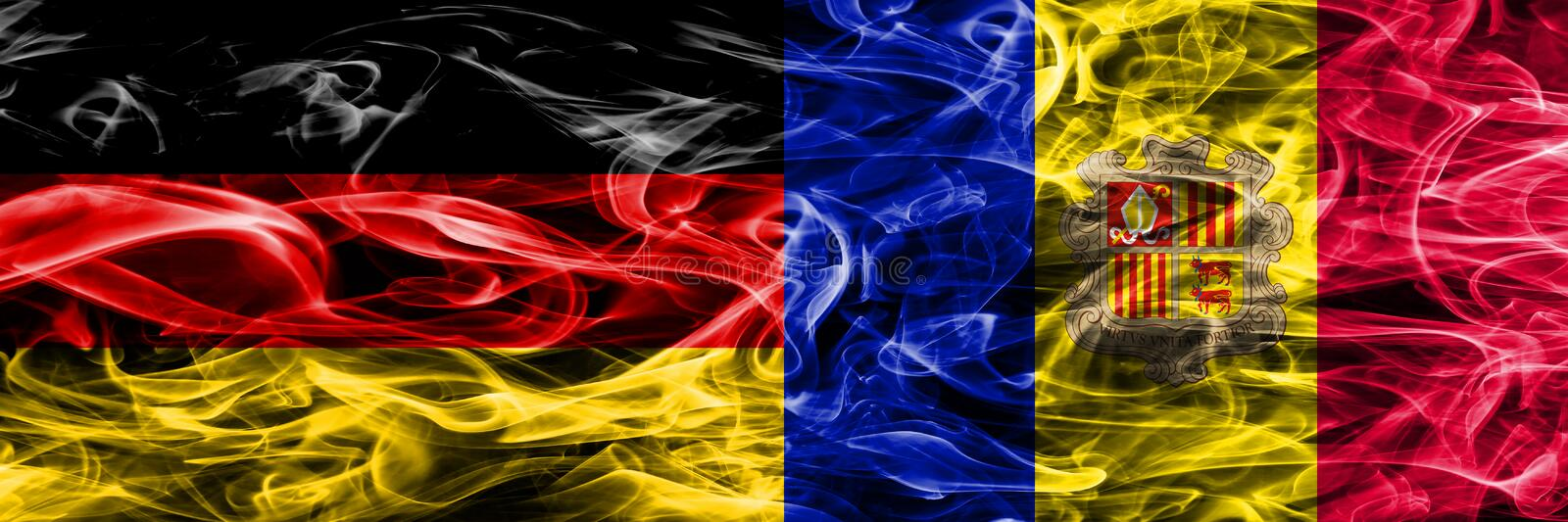 Germany vs Andorra smoke flags placed side by side. German and A. Ndorra flag together vector illustration