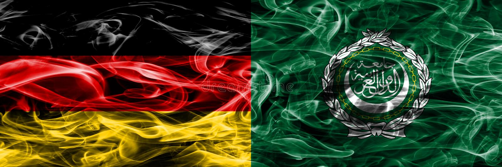Germany vs Arab League smoke flags placed side by side. German a stock image