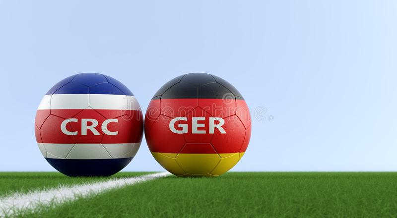 Germany vs. Costa Rica Soccer Match - Soccer balls in Costa Rica and Germany national colors on a soccer field. Copy space on the right side - 3D Rendering vector illustration