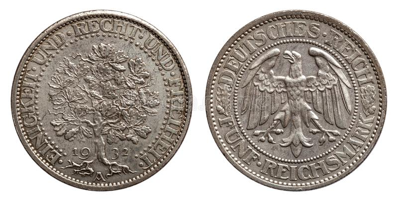 Germany Weimar 5 mark silver coin oak 1932. Germany Weimar 5 mark oak 1932, front oak and unity and right and freedom, back eagle royalty free stock images