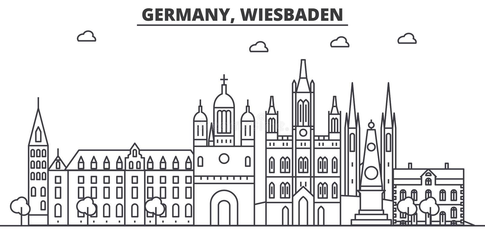 Germany, Wiesbaden architecture line skyline illustration. Linear vector cityscape with famous landmarks, city sights. Design icons. Editable strokes vector illustration