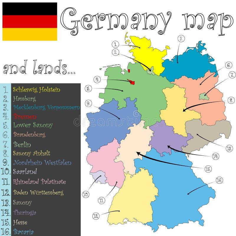 germany ziemi mapa ilustracja wektor