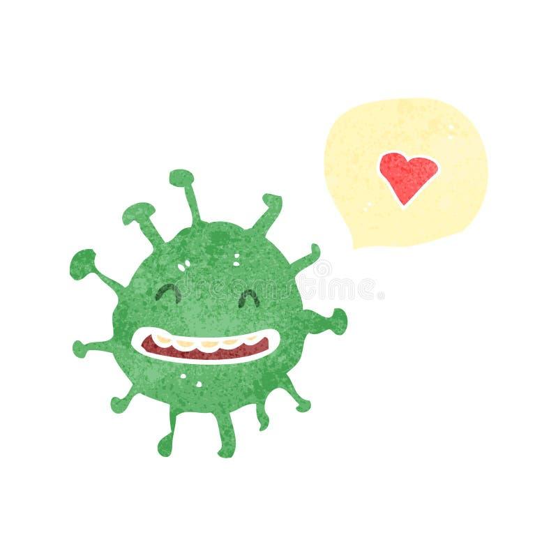 germe dos desenhos animados com bolha do discurso do coração do amor ilustração royalty free