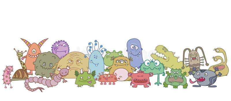 Germes assustadores diferentes ilustração royalty free