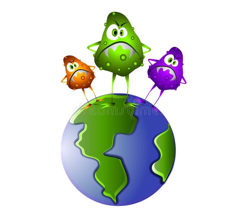 Germes de Superbug no mundo ilustração royalty free