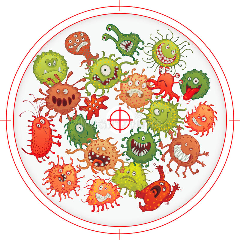 Germes e bactérias sob a mira de arma ilustração do vetor