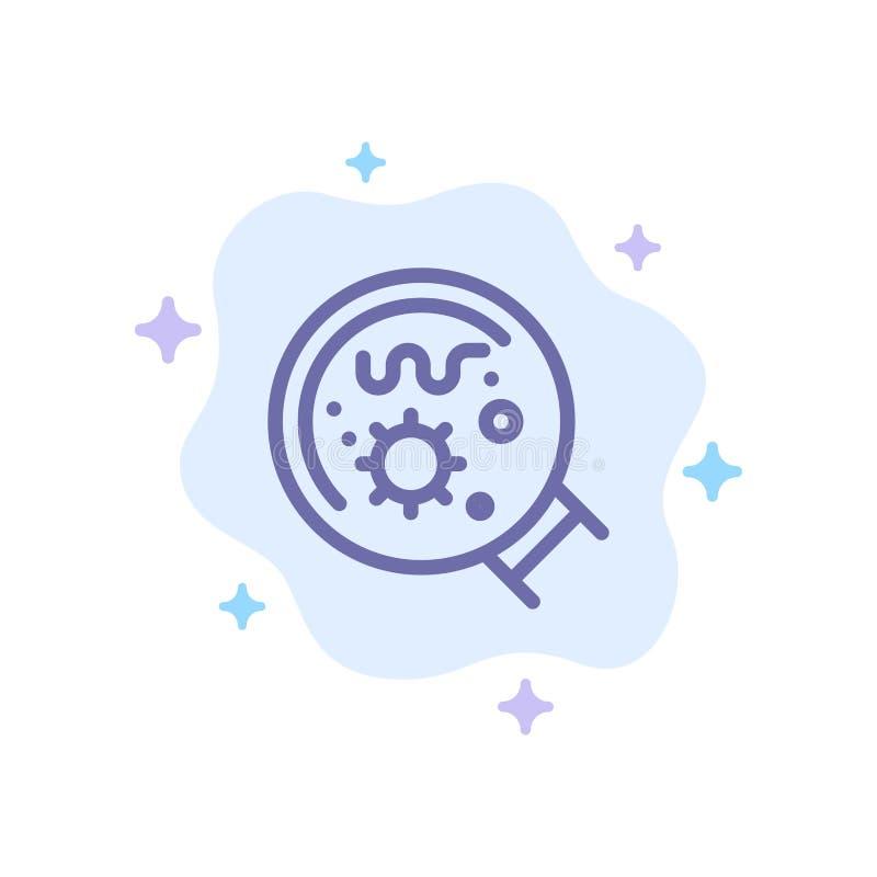 Germes, laboratório, lente de aumento, ícone azul da ciência no fundo abstrato da nuvem ilustração stock