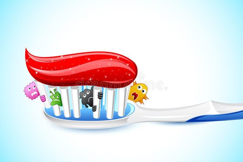 Germes no toothbrush ilustração stock