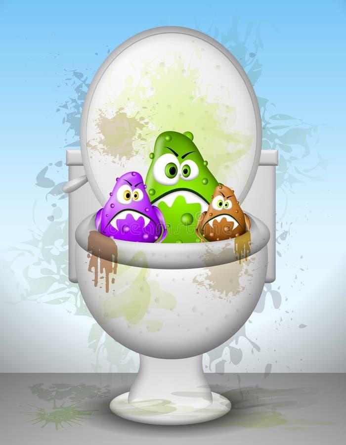 Germes sujos feios da bacia de toalete ilustração do vetor